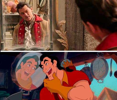 Figurino Gaston / Gastão, A bela e a fera anos 90 e hoje