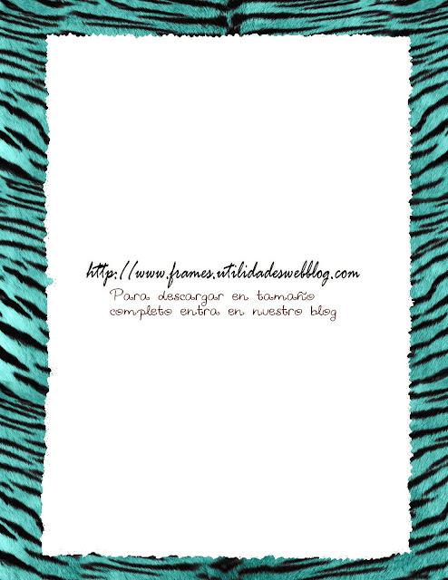 marco para fotos textura de tigre color turquesa
