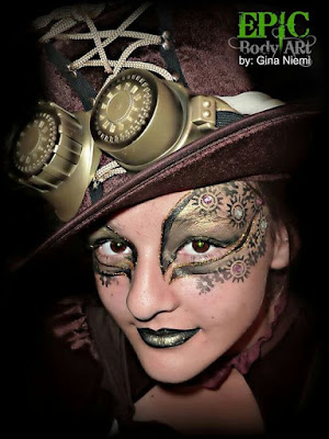 Steampunk makeup mask with gears and rhinestones glued on