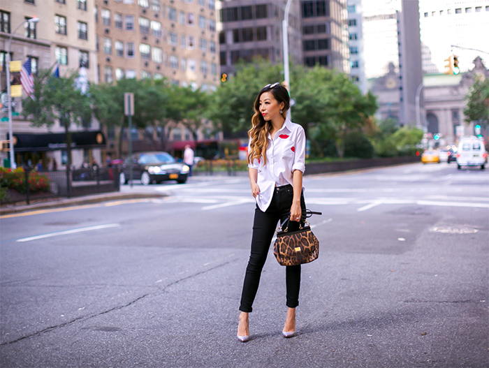 Kisses blouse, white blouse, 7fam hair denim, skinny jeans, dolce and gabbana bag, quay sunglasses, christian louboutin heels, nyc street style, new york fashion week, nyfw ss 2017, fall essentials
