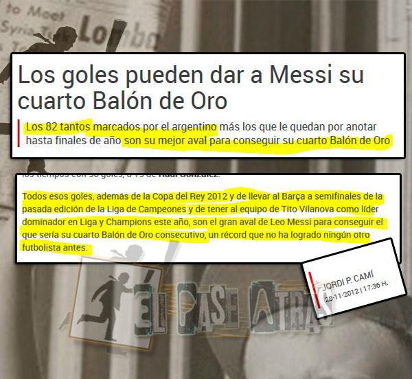 Messi y Cristiano Balón de Oro 2014, 2015,2011