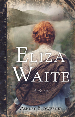 Cover of book, shows a woman in historical dress from behind facing out toward a wild Pacific Northwest landscape