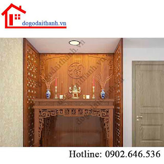 Phòng thờ đẹp và trang trí phòng thờ bằng gỗ hiện đại