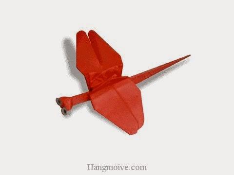 Cách gấp, xếp con chuồn chuồn ớt bằng giấy origami - Video hướng dẫn xếp hình côn trùng - How to fold a Red Dragonfly