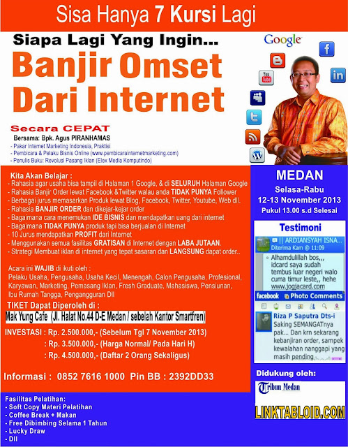 Workshop Banjir Omset Dari Internet Oleh Agus Piranhamas