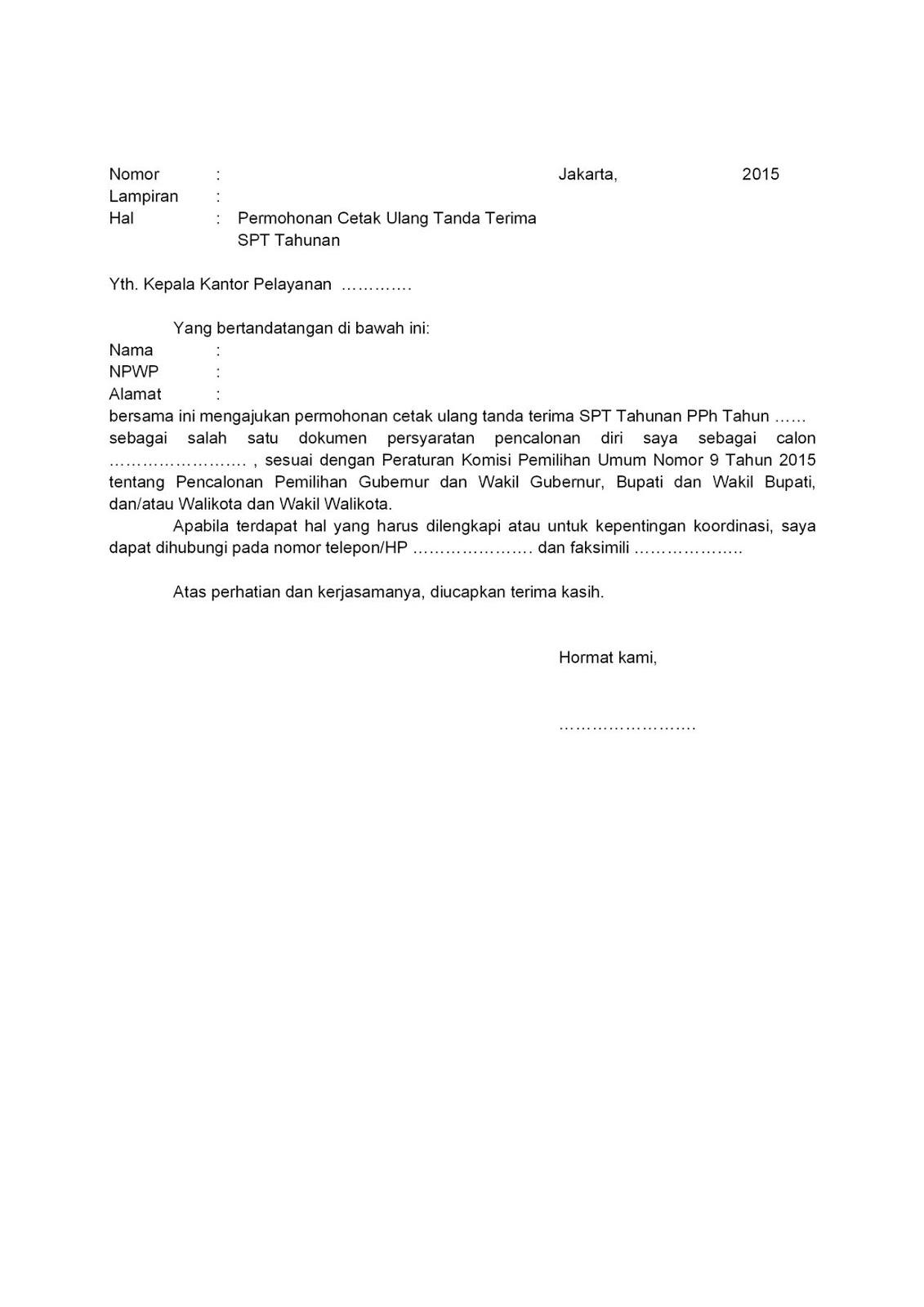 Contoh Surat Permohonan Cetak Ulang Spt Surasm