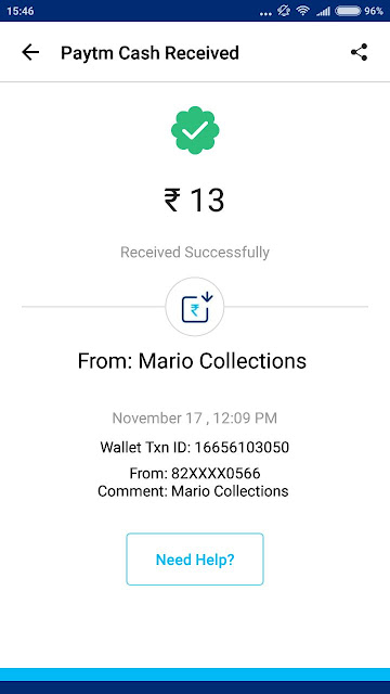 Mario Collections App Payment Proof: