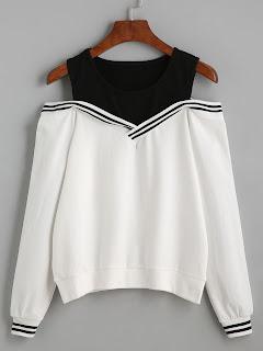 http://es.shein.com/Varsity-Striped-Contrast-Open-Shoulder-Sweatshirt-p-305391-cat-1773.html?aff_id=8741