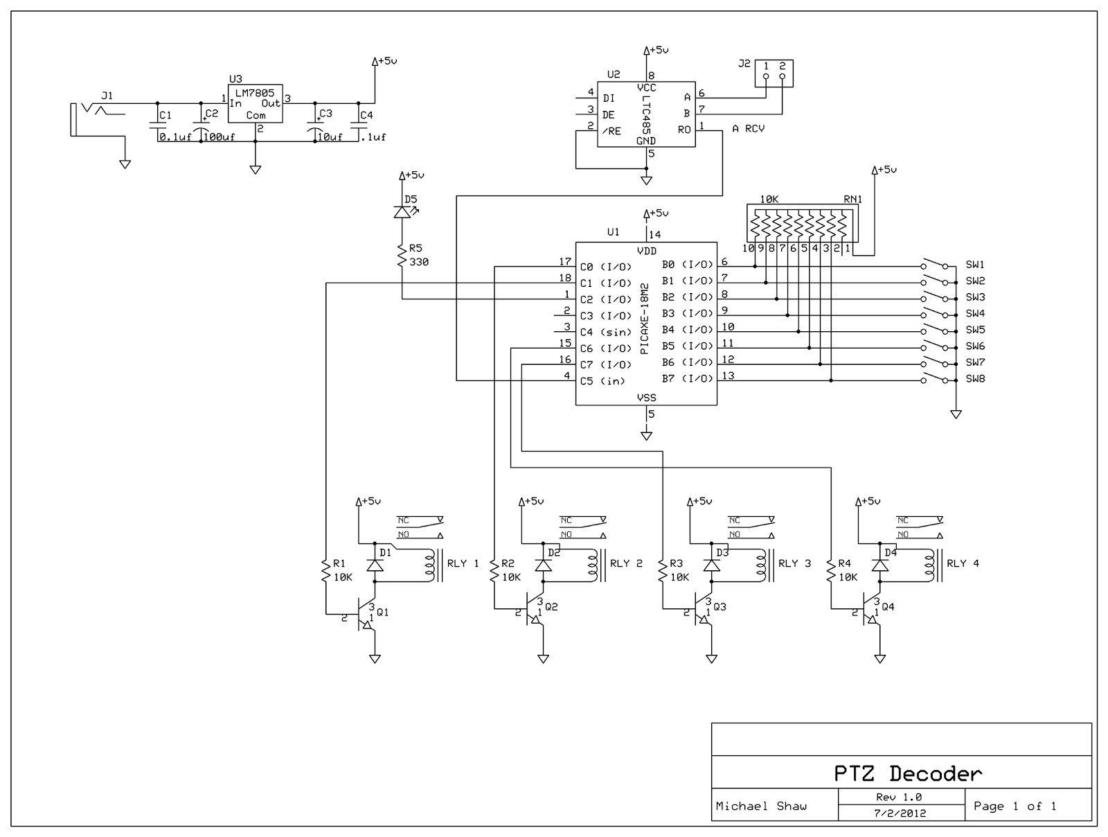 Rs 485 Wiring Diagram For Ptz Controller 40 Images Rs485 4 Decoder Schmatic Mike Shaw Makes Blog Making A Camera Pinout