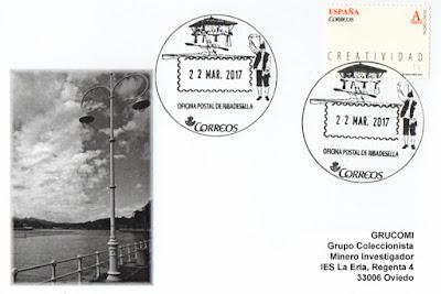Tarjeta de Grucomi del matasellos turístico Ribadesella