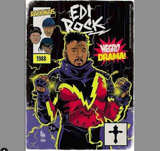 Rap em quadrinhos - Edi Rock é retratado como Raio Negro, herói da DC.