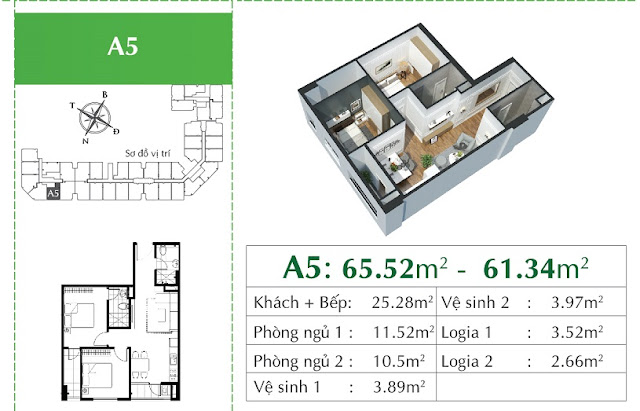 Thiết kế căn A5 Eco City Long Biên