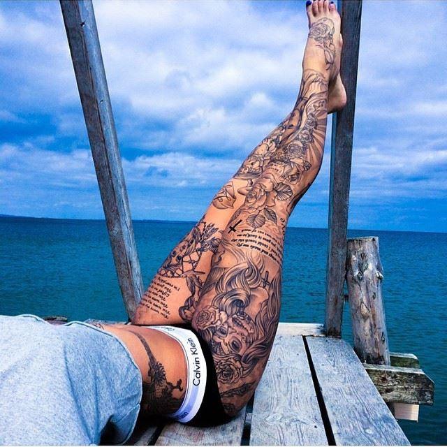 Black And Grey Line Tattoo Arts...