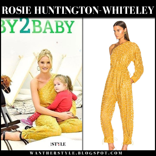 Rosie Huntington-Whiteley in yellow one shoulder jumpsuit stella mccartney model fashion june 14