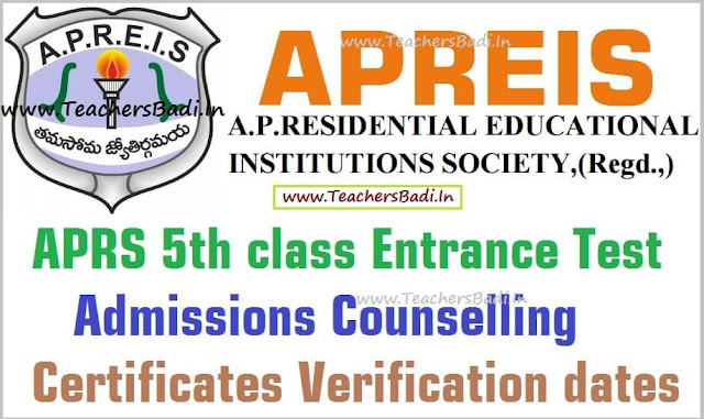 APRS,5th class admissions counselling,Certificates verification dates 2016