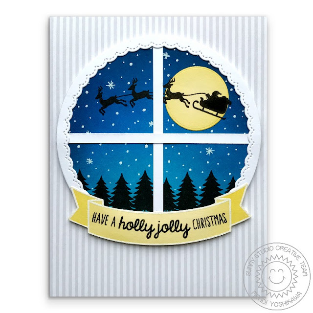 Sunny Studio Stamps: Here Comes Santa Window Style Holiday Christmas Card by Mendi Yoshikawa