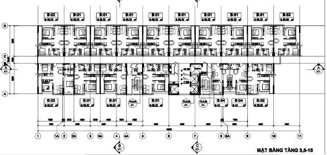 Sơ đồ mặt bằng tầng 3,5-18 tòa T2 B1.3 Thanh Hà