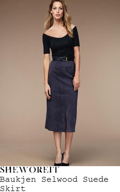 holly-willoughby-baukjen-selwood-blue-suede-midi-skirt