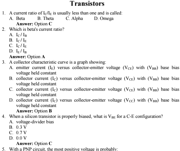 Transistors MCQ Multiple Choice Questions and Answers PDF Download