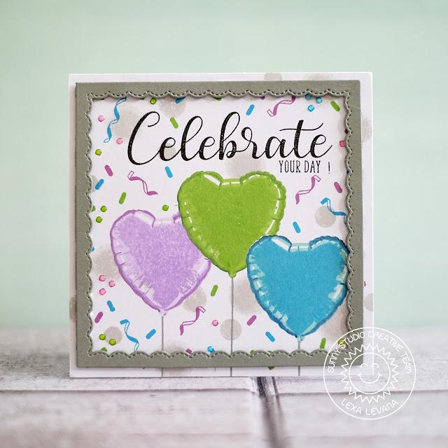 Sunny Studio Stamps: Bold Balloons Framed Birthday Celebration Card by Lexa Levana