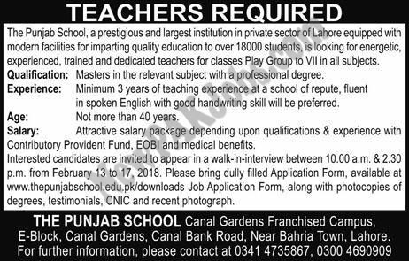 Today New Jobs in the Punjab School for Teachers in Lahore, 2018 Vacanices