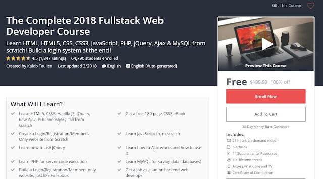The Complete 2018 Fullstack Web Developer Course