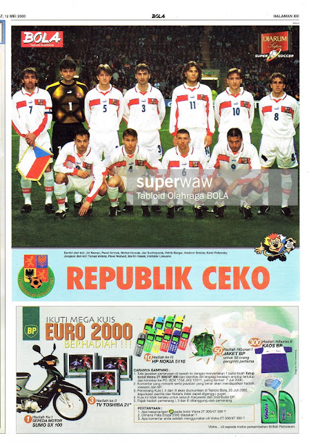 CZECH REPUBLIC TEAM SQUAD EURO 2000 FOOTBALL