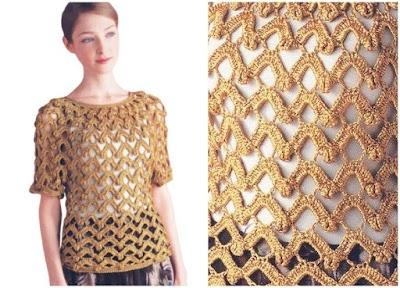 Jersey manga corta zigzags calados de crochet