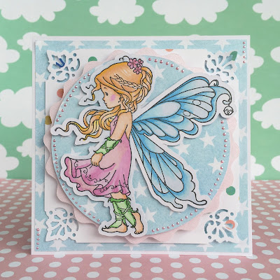 scrapbooking silver fairy card