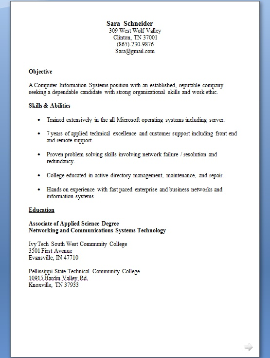 technical support specialist resume model in word format free download