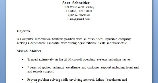technical support specialist resume model in word format