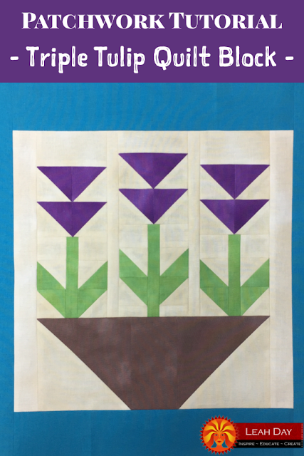 Triple Tulip Flower Quilt Block Tutorial