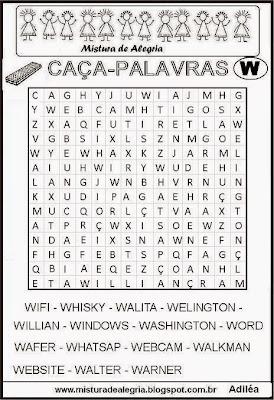 Caça-palavras alfabéticas-letra W