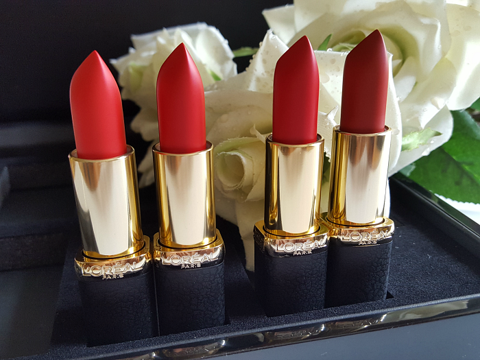 Review & Swatches:  L´Oréal Paris Color Riche Matte Lipstick 344 Retro Red - 346 Scarlett Silhouette - 347 Haute Rouge - 348 Brick Vintage