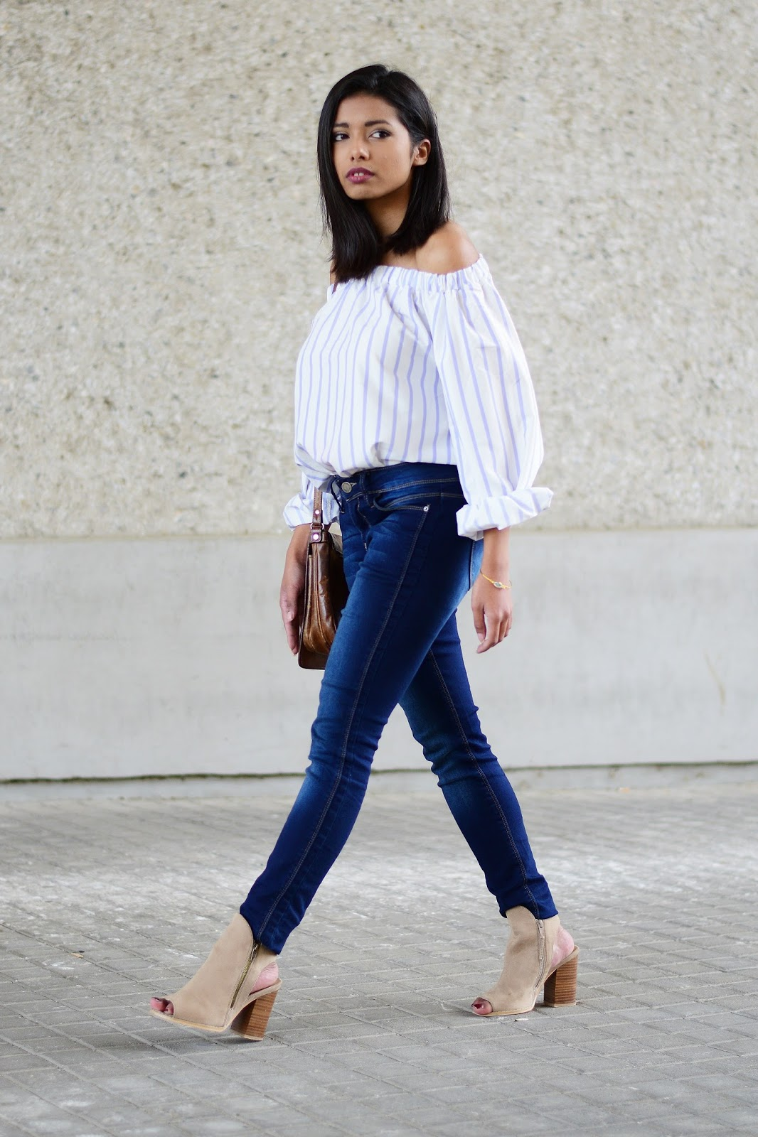 off-shoulder blouse outfit