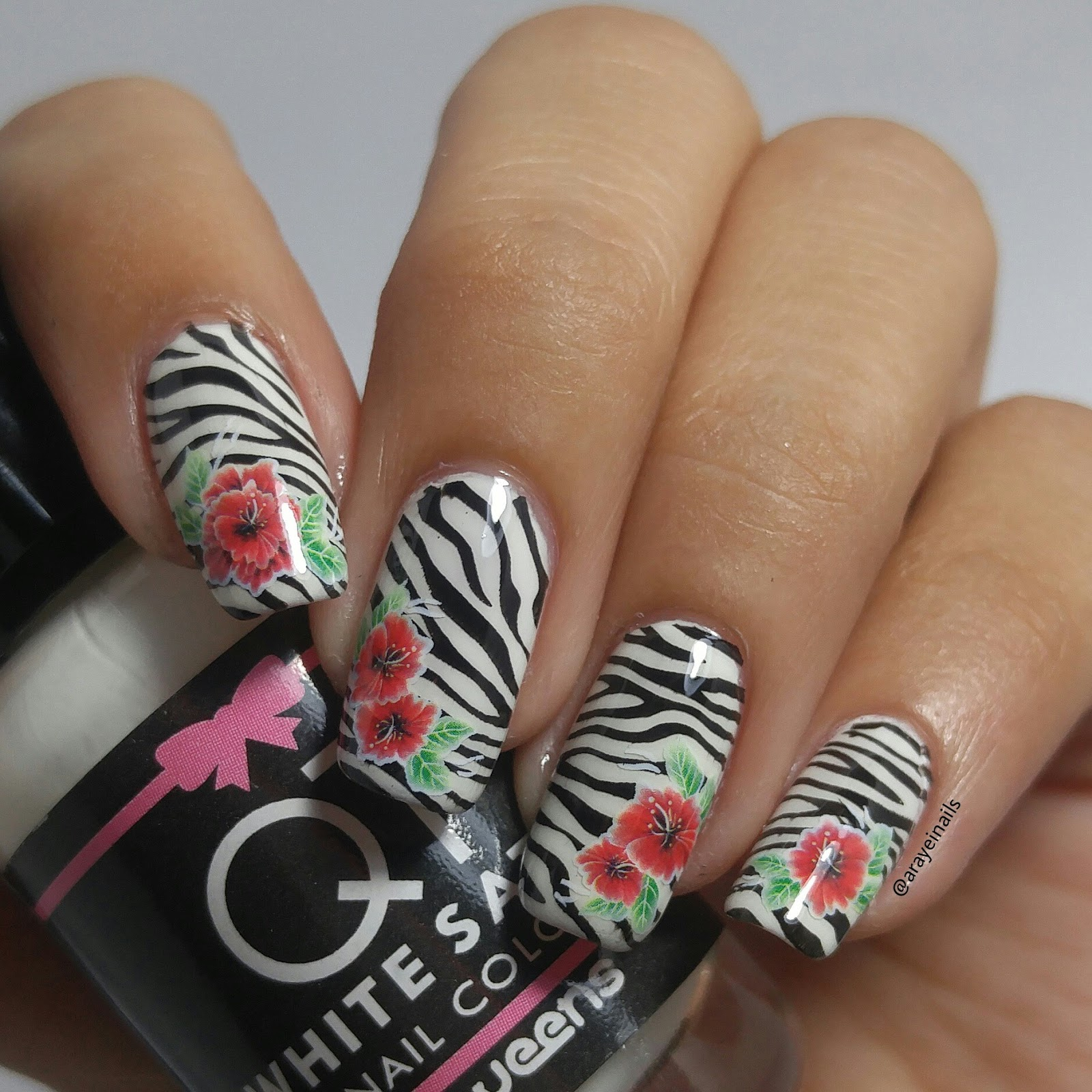 Wonderful Journey Of My Nails Zebra Nails With A Twist Of Floral