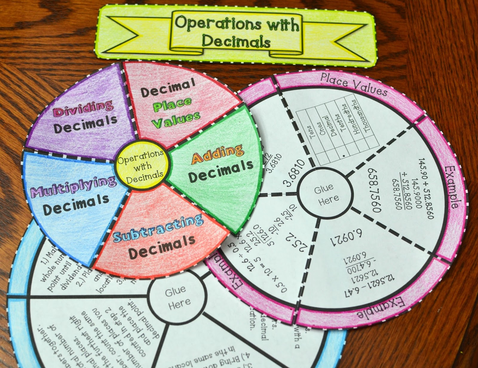 operations with decimals wheel foldable (adding, subtracting