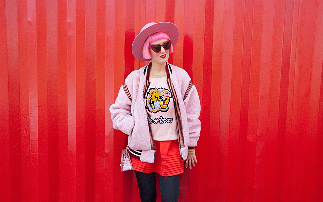 blogger look, pink outfit, bomber jacket