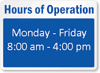 hours of operation monday through friday 8:00 am to 4:00 pm
