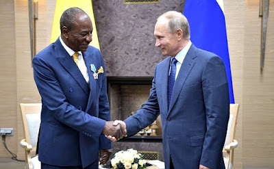Vladimir Putin presented the Order of Friendship to President of the Republic of Guinea and Chairperson of the African Union Alpha Conde.