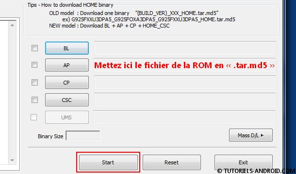 Installer ROM avec Odin3 Case AP
