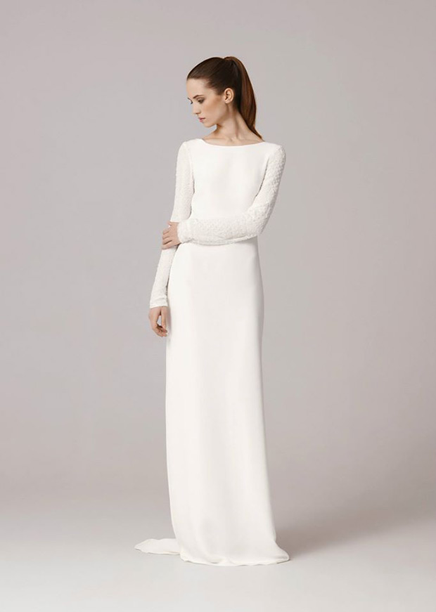 Sleek Long Sleeves Wedding Dress White | prom fashion