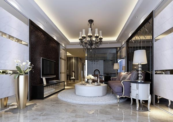 Modern European style living room model free 3ds max