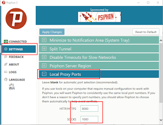 Setting local proxy port