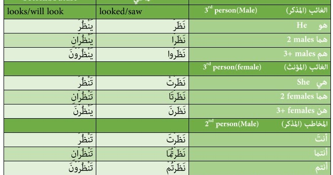 50 commonly used Arabic verbs and their respective tense in