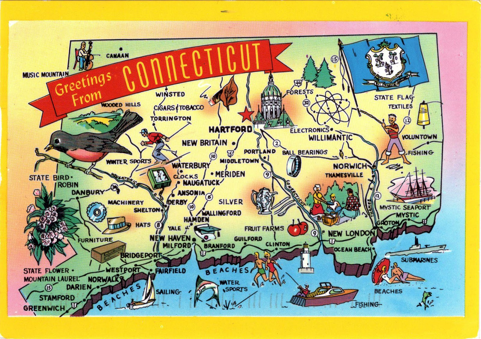 2108 United States Connecticut Connecticut Map And Flag