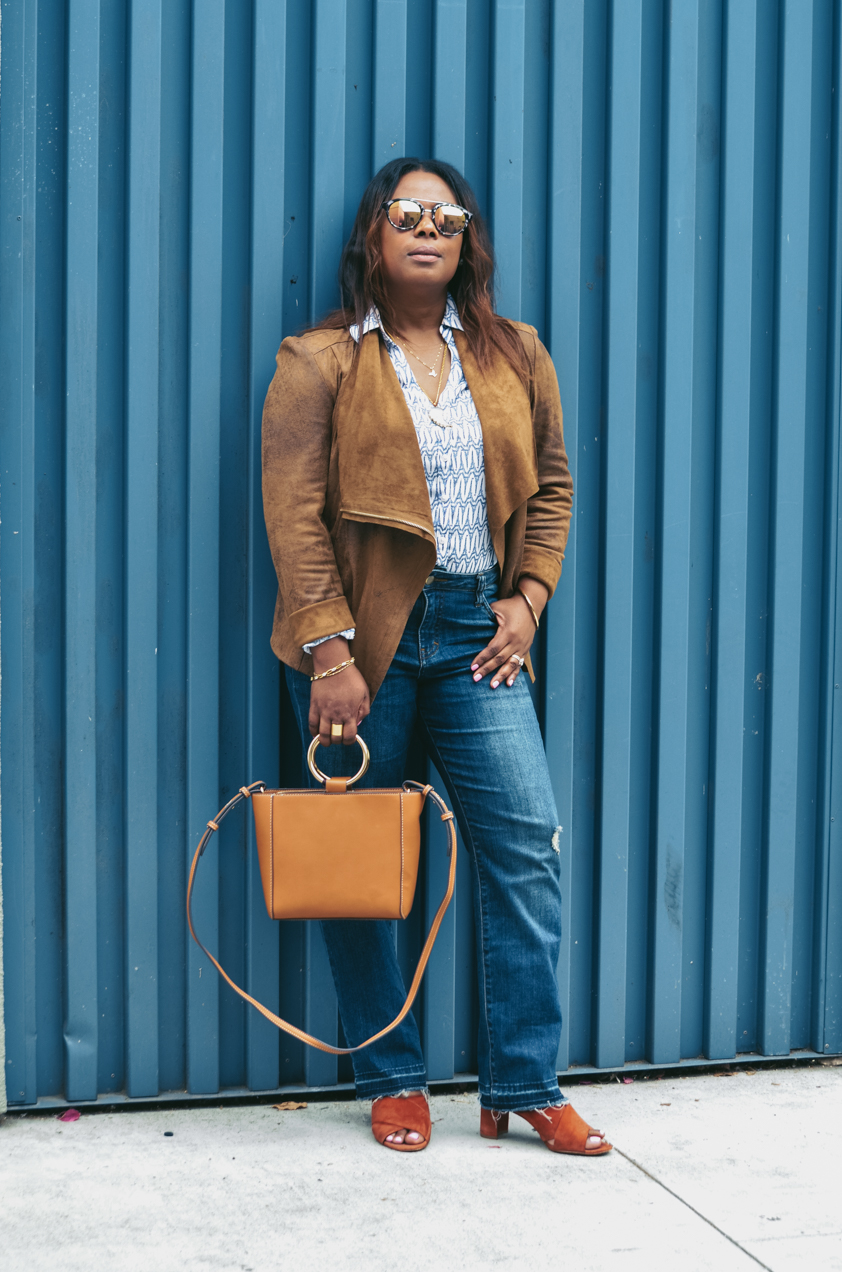 BeckaBellaStyle_Paige Released Hem Denim-Mango Bag-Ann Taylor Sunglasses-Brown jacket-Madewell Nutmeg Slides Mule Sandals