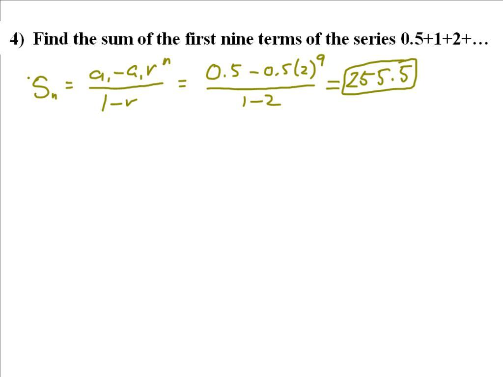 Mr Flanagan S Class Geometric Series Worksheet Solutions