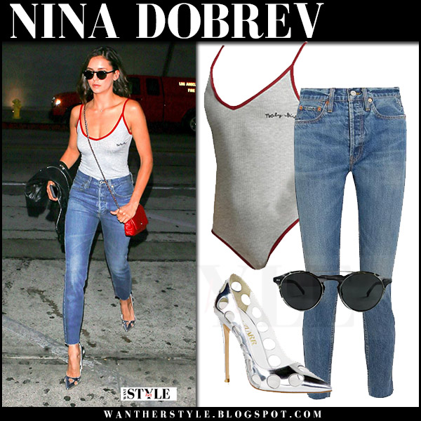 Nina Dobrev in grey bodysuit, skinny jeans and silver pumps alzuarr what she wore august 2017