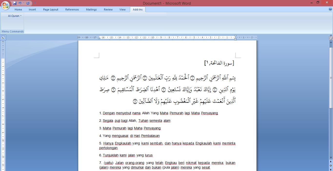 setup quran in word